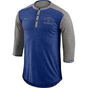 Nike Men's Los Angeles Dodgers Dri-FIT Three-Quarter Sleeve Henley Shirt