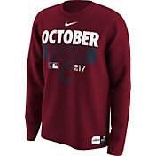 Nike Men's Cleveland Indians 2017 MLB Postseason Dri-FIT Authentic Collection 'October Ready' Red Long Sleeve Shirt