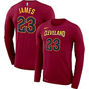 Nike Men's Cleveland Cavaliers LeBron James #23 Dri-FIT Burgundy Long Sleeve Shirt