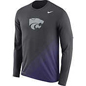 Nike Men's Kansas State Wildcats Anthracite/Purple Football Sideline Dri-FIT Long Sleeve Shirt