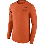 Nike Men's Oklahoma State Cowboys Heathered Orange Player Football Sideline Long Sleeve Shirt