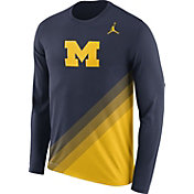 Jordan Men's Michigan Wolverines Blue/Maize Football Sideline Dri-FIT Long Sleeve Shirt