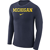 Nike Men's Michigan Wolverines Blue Marled Dri-FIT Long Sleeve Shirt
