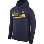 Jordan Men's Michigan Wolverines Blue Football Sideline Pullover Therma-FIT Hoodie