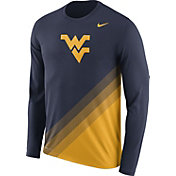 Nike Men's West Virginia Mountaineers Blue/Gold Football Sideline Dri-FIT Long Sleeve Shirt