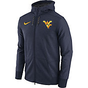 Nike Men's West Virginia Mountaineers Heathered Blue Football Travel Full-Zip Hoodie