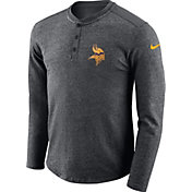Nike Men's Minnesota Vikings Henley Charcoal Long Sleeve Shirt