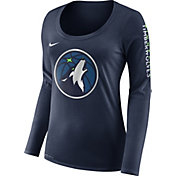 Nike Women's Minnesota Timberwolves Dri-FIT Navy Logo Long Sleeve Shirt