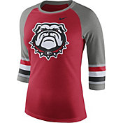Nike Women's Georgia Bulldogs Red/Grey Stripe Sleeve Three-Quarter Raglan Shirt