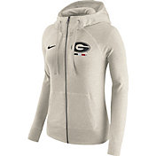 Nike Women's Georgia Bulldogs Heathered Oatmeal Gym Vintage Full-Zip Hoodie