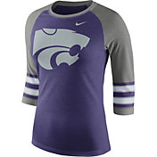 Nike Women's Kansas State Wildcats Purple/Grey Stripe Sleeve Three-Quarter Raglan Shirt