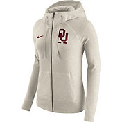 Nike Women's Oklahoma Sooners Heathered Oatmeal Gym Vintage Full-Zip Hoodie