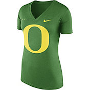 Nike Women's Oregon Ducks Apple Green Stripe Bar V-Neck T-Shirt