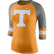 Nike Women's Tennessee Volunteers Tennessee Orange/Grey Stripe Sleeve Three-Quarter Raglan Shirt