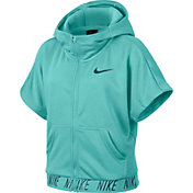 Nike Girls' Dry Core Studio Short Sleeve Full Zip Hoodie