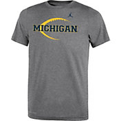 Jordan Youth Michigan Wolverines Grey Football Icon Legend T-Shirt