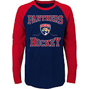 NHL Youth Florida Panthers Morning Skate Navy/Red Raglan Long Sleeve Shirt