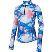 Reebok Girls' Cold Weather Compression Printed 1/4 Zip Long Sleeve Shirt