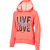 Reebok Girls' Performance Fleece Live Play Love Graphic Hoodie