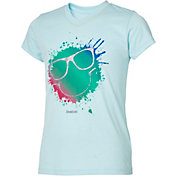 Reebok Girls' V-Neck Smiley Sunglasses Graphic T-Shirt