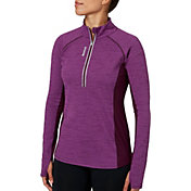 Reebok Women's Cold Weather Compression Space Dye Quarter Zip Long Sleeve Shirt