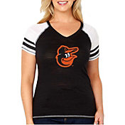 Soft As A Grape Women's Baltimore Orioles Tri-Blend V-Neck T-Shirt