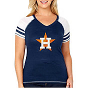 Soft As A Grape Women's Houston Astros Tri-Blend V-Neck T-Shirt