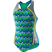 Speedo Girls' Digi Zig Zag Heather Splice Racerback Swimsuit