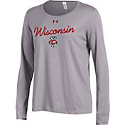 Under Armour Women's Wisconsin Badgers Grey Charged Cotton Long Sleeve Shirt