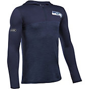 Under Armour NFL Combine Authentic Youth Seattle Seahawks Tech Navy Quarter-Zip Hoodie