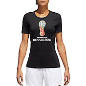 adidas Women's 2018 World Cup Soccer Event Logo Black T-Shirt