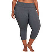 CALIA by Carrie Underwood Women's Plus Size Essential Crossover Heather Tight Fit Capris