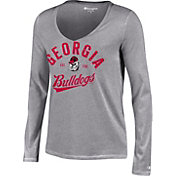 Champion Women's Georgia Bulldogs Grey University Long Sleeve V-Neck Shirt