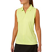Lady Hagen Women's Watercolor Collection Zipper Sleeveless Golf Polo - Plus Size