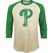 Majestic Threads Men's Philadelphia Phillies St. Patrick's Day Raglan Three-Quarter Shirt