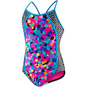 Speedo Girl's Diamond Geo Slice Racerback Swimsuit